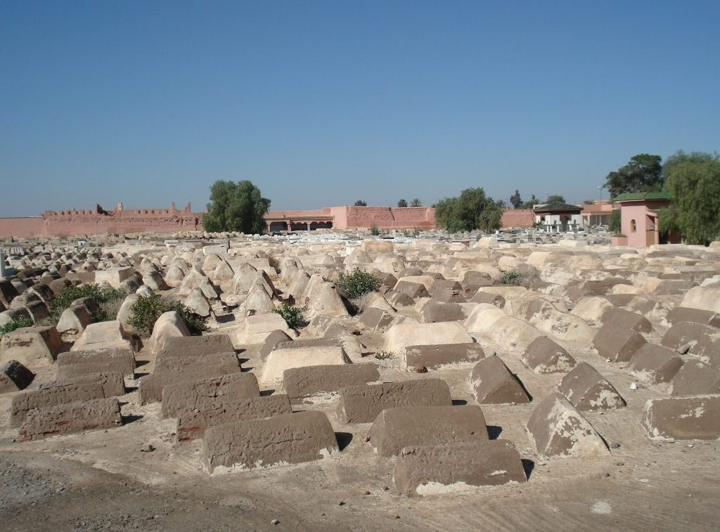 view of the old jewish cemetary in marrakech